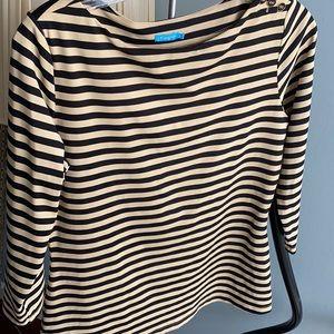 J. McLaughlin black & tan stripe shirt